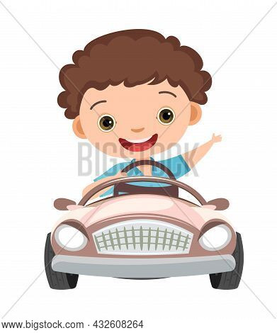 Kid Drives A Car. Childrens Automobile. Toy Vehicle. With A Motor. Nice Passenger Mini Auto. Pedal O