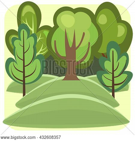 Flat Forest. Illustration In A Simple Symbolic Style. Hills. Funny Green Landscape. Isolated. Comic