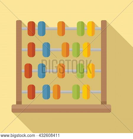 Arithmetic Abacus Icon Flat Vector. Math Calculator. Counting Toy