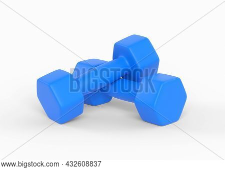 Fitness Dumbbells Pair. Two Blue Color Rubber Or Plastic Coated Dumbbell Weights Isolated On White B