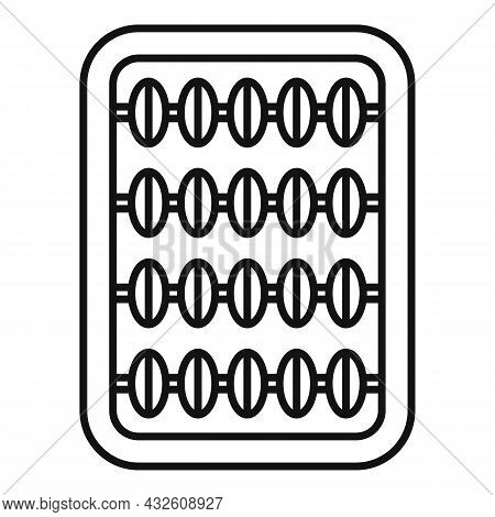 Inca Abacus Icon Outline Vector. Math Calculator. Wooden Toy