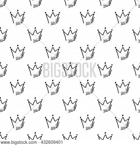 Tiara. Black And White Seamless Pattern For Wrapping, Fabric And Other Design