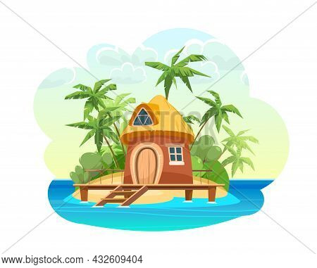 Bungalow On The Island. In The Blue Calm Sea. Summer Seascape. Beach Hut By The Ocean. Isolated On W
