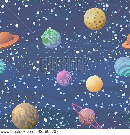 Cosmos Background. Planets And Satellites. Seamless Pattern. Childrens Illustration. Starry Sky Land