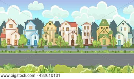 Street. Cartoon Houses With A Road. Asphalt. Village Or Town. A Beautiful, Cozy Country House In A T
