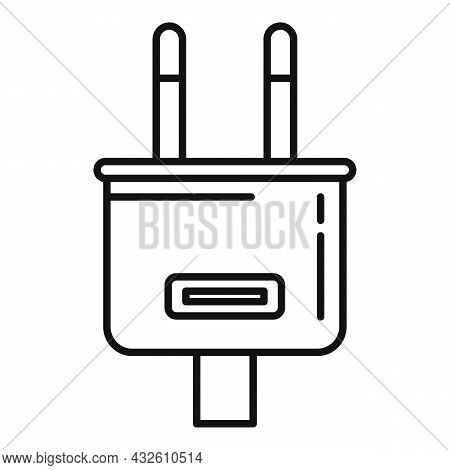 Charger Plug Icon Outline Vector. Charge Phone. Cell Mobile