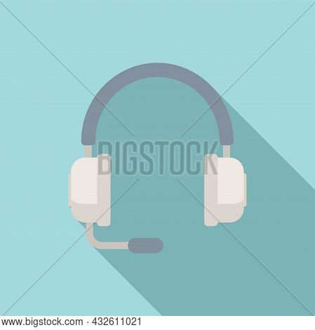 Customer Headset Icon Flat Vector. Gamer Microphone. Service Center