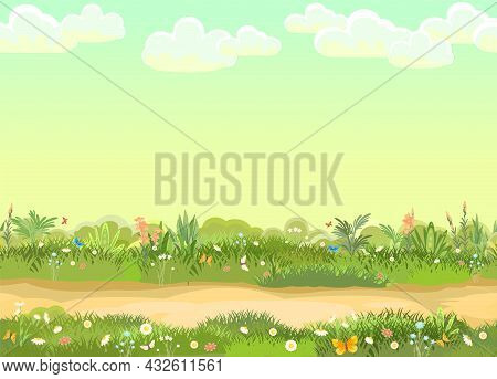 Rural Road To Green Glade. Summer Meadow. Trail. Juicy Grass Close Up. Grassland. Cartoon Style. Fla