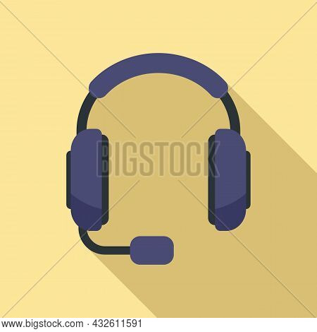 Helpline Headset Icon Flat Vector. Call Support. Service Center