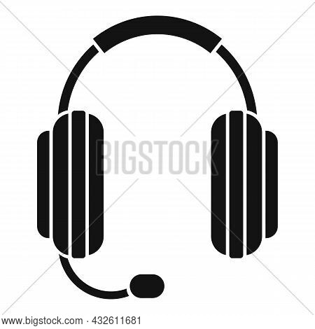 Care Headset Icon Simple Vector. Gamer Microphone. Call Support