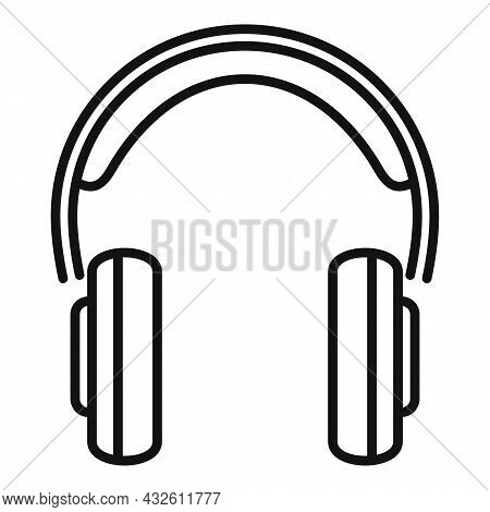 Gamer Headset Icon Outline Vector. Customer Headphone. Service Microphone
