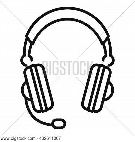 Headphones Icon Outline Vector. Gamer Microphone. Customer Service