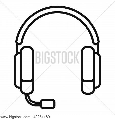 Headset Mic Icon Outline Vector. Microphone Headphone. Service Center