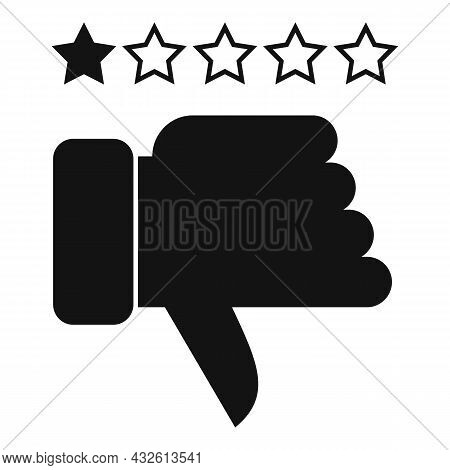 Negative Product Review Icon Simple Vector. Online Evaluation. Customer Star