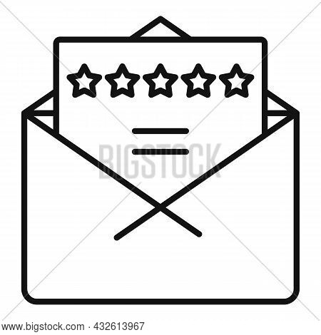 Mail Product Review Icon Outline Vector. Online Evaluation. Customer Star