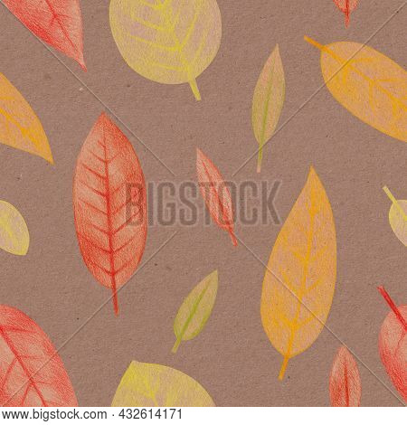 Seamless Pattern With Hand Drawn Yellow, Orange And Red Leaves With A Rough Texture. Plant Drawing W