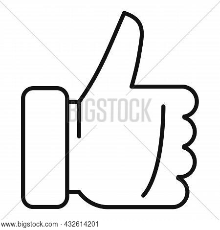 Thumb Up Review Icon Outline Vector. Online Product. Evaluation Customer