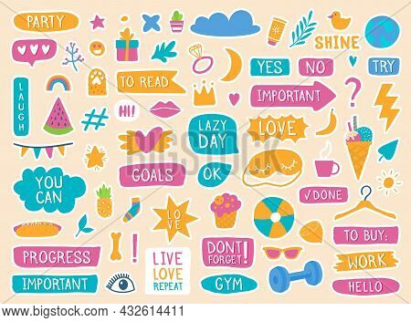 Daily Planner Stickers, Cute Diary Or Journal Doodle Elements. Trendy Decorations, Quotes, Text For
