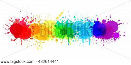 Paint Splatter Banner, Rainbow Watercolor Paint Stains. Colorful Splattered Spray Paints, Abstract C
