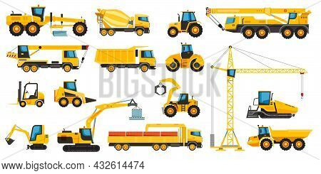 Construction Heavy Machinery, Building Equipment And Vehicles. Forklift, Crane, Tractor, Bulldozer,