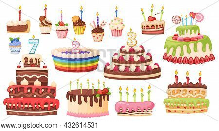 Cartoon Cakes And Cupcakes With Candles, Delicious Sweet Desserts. Birthday Celebration Chocolate Ca