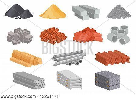 Cartoon House Building Materials, Industrial Construction Supplies. Beton, Cement, Concrete, Sand, B