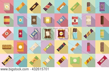 Snack Bar Icons Set Flat Vector. Candy Product. Snack Bar Food