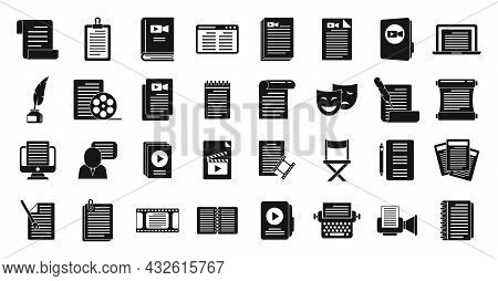 Scenario Icons Set Simple Vector. Event Fabrications. Video Moving