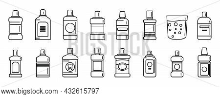 Tooth Rinse Icons Set Outline Vector. Fresh Breath. Liquid Bottle