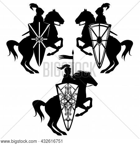 Medieval Style Fantasy Knight Hero With Horse And Heraldic Shield - Black And White Vector Guard Emb