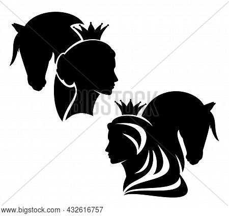 Fairy Tale Queen Or Princess Wearing Royal Crown With Her Horse Profile Head Black And White Vector