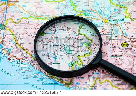 Map Of Sarajevo In Bosnia-herzevogina Through Magnifying Glass, Concept Of Planning The Travel Itine