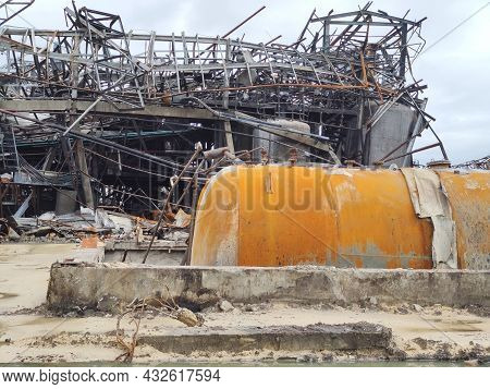 Disaster On Demolished Construction Of Factory From Explosion Fire From Gas Leak, Earthquake, Floodi
