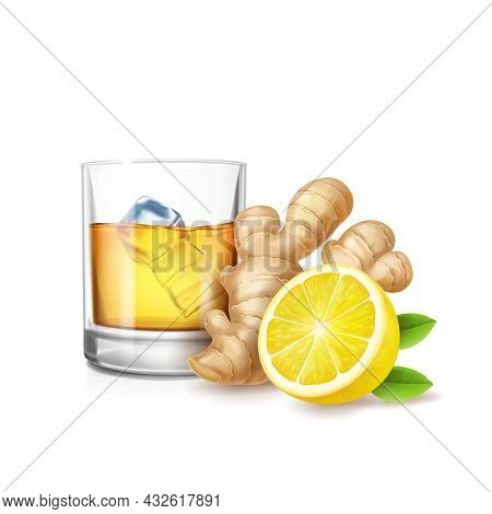 Ginger Ale Vector Realistic Illustration. Glass Of Ale, Ice Cubes And Ginge Root Isolated.
