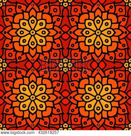 Red Abstract Seamless Mosaic Ornament. Orange Geometrical Oriental Floral Pattern. Bohemian Seamless