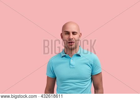 Playful Horny Bald Homosexual Man With Bristle Is Licking Lips, Flirting With Stranger, Is Tempted B