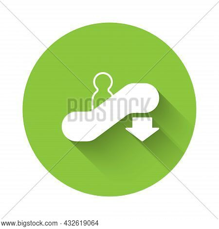 White Escalator Down Icon Isolated With Long Shadow Background. Green Circle Button. Vector