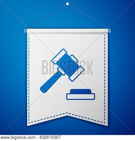 Blue Judge Gavel Icon Isolated On Blue Background. Gavel For Adjudication Of Sentences And Bills, Co