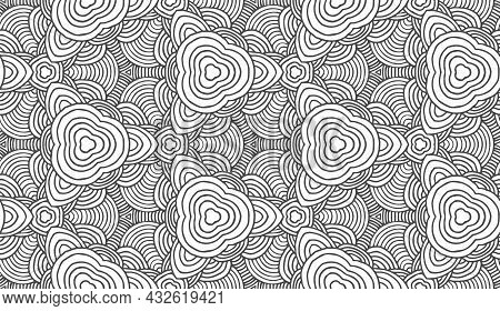 Retro Abstract Seamless Vector Pattern On White Backdrop. Vector Stripe Pattern Decorative Print Con