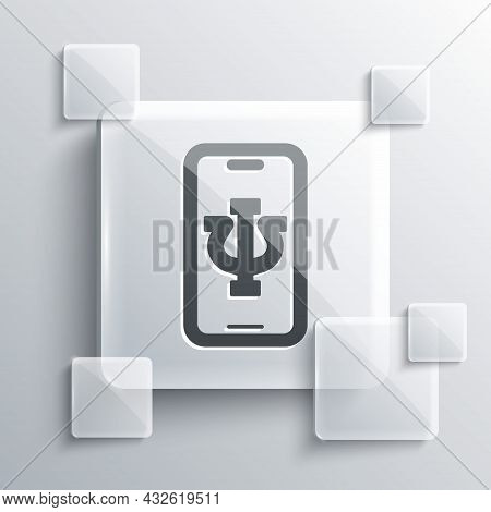 Grey Online Psychological Counseling Distance Icon Isolated On Grey Background. Psychotherapy, Psych