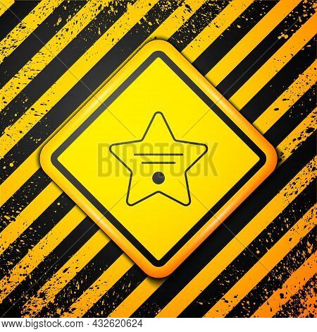 Black Walk Of Fame Star On Celebrity Boulevard Icon Isolated On Yellow Background. Hollywood, Famous