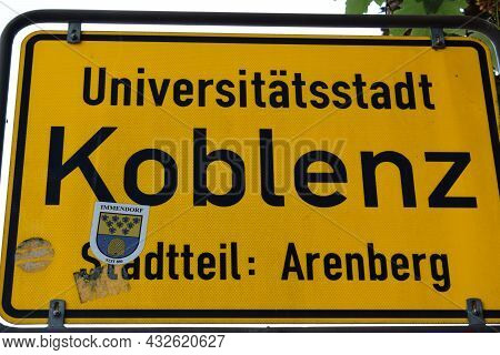 Town Sign Of Koblenz-arenberg With A Sticker Of Koblenz-immendorf