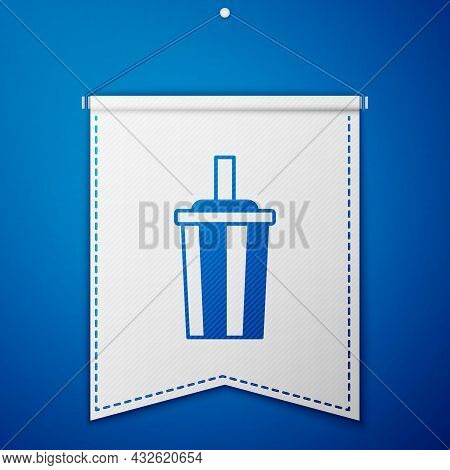 Blue Paper Glass With Drinking Straw And Water Icon Isolated On Blue Background. Soda Drink Glass. F
