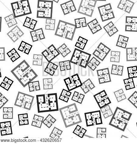 Black Evacuation Plan Icon Isolated Seamless Pattern On White Background. Fire Escape Plan. Vector