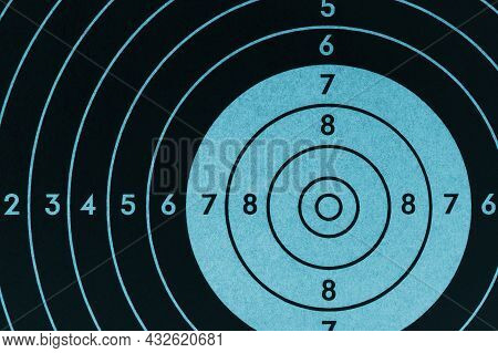 Target For Shooting. Dark Black And Blue Inverted Background Or Wallpaper. Backdrop For Shooting Spo