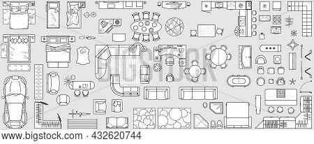 Set Top View For Interior Icon Design. Floor Plan. Architecture Plan With Furniture In Top View. The