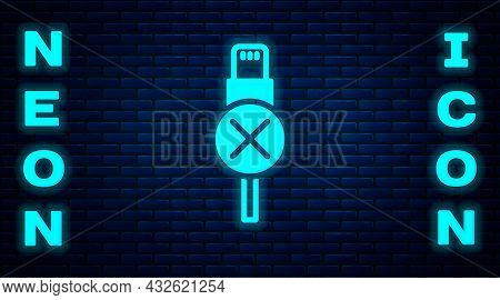 Glowing Neon No Usb Cable Cord Icon Isolated On Brick Wall Background. Connectors And Sockets For Pc