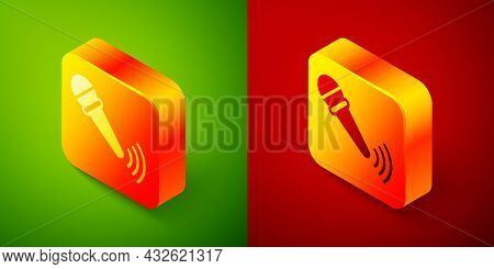 Isometric Wireless Microphone Icon Isolated On Green And Red Background. On Air Radio Mic Microphone