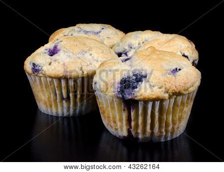 Homemade Blueberry Muffins On Black Background
