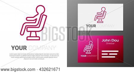 Logotype Line Human Waiting In Airport Terminal Icon Isolated On White Background. Logo Design Templ